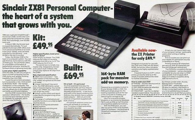 Sinclair reklamlara da önem veriyordu. ZX81'in reklamı gazetelerde sık görülürdü.